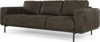 An Image of Jarrod 3 Seater Sofa, Truffle Brown Leather