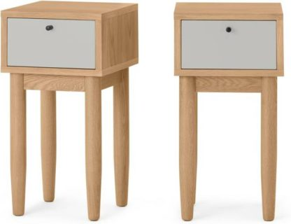 An Image of Campton Compact Set of 2 Bedside Tables, Oak & Grey