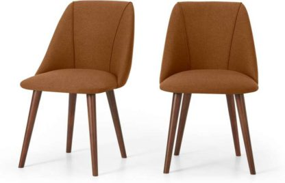 An Image of Lule Set of 2 Dining Chairs, Dune Orange & Walnut Leg