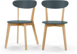 An Image of Set of 2 Fjord Dining Chairs, Oak and Blue