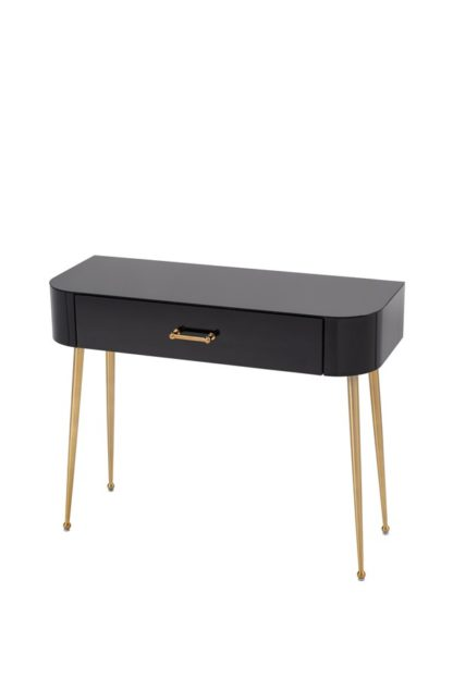 An Image of Mason Black Glass Console Table – Brushed Gold Legs