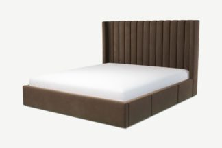 An Image of Custom MADE Cory Super King Size Bed with Drawer Storage, Mushroom Taupe Cotton Velvet