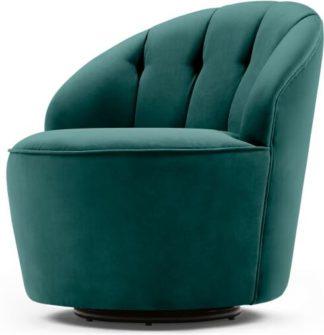 An Image of Margot Swivel Accent Armchair, Peacock Blue Velvet