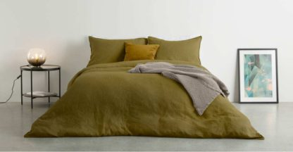 An Image of Brisa 100% Linen Duvet Cover + 2 Pillowcases King Size, Olive