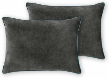An Image of Castele Set of 2 Luxury Velvet Cushions, 35x50cm, Grey with Teal Piping