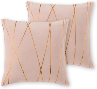 An Image of Lonford Set of 2 Velvet Cushion, 45x45, Plaster Pink & Copper