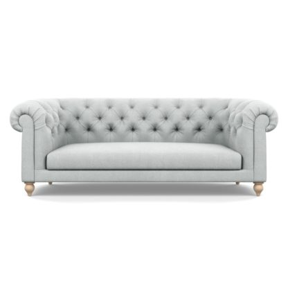 An Image of Heal's Fitzrovia 3 Seater Sofa Broad Weave Tin Natural Feet