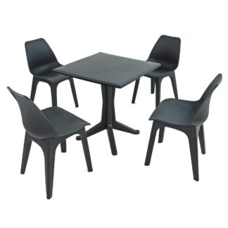An Image of Ponente 4 Seater Anthracite Dining Set with Eolo Chairs Grey