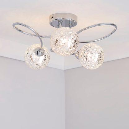 An Image of Vigo 3 Light Glass Semi-Flush Ceiling Fitting Chrome