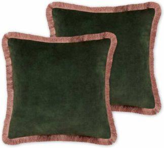 An Image of Kili Set of 2 Fringed Velvet Cushions, 45 x 45cm, Dark Green & Pink