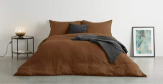 An Image of Brisa 100% Linen Duvet Cover + 2 Pillowcases Super King, Mocha