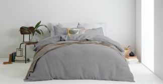 An Image of Brisa 100% Linen Pair of Pillowcases, Steel UK