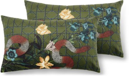 An Image of Beatrice Set of 2 Velvet Printed Cushions, 30x50cm, Snake Multi