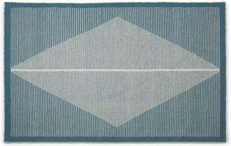 An Image of Camden Diamond Wool Rug, Large 160 x 230cm, Teal and White
