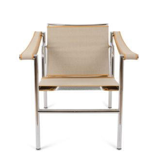 An Image of Cassina LC1 Armchair Chrome Ecru Canvas & Natural