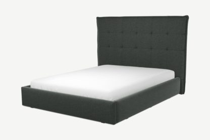 An Image of Custom MADE Lamas King Size Bed with Ottoman, Etna Grey Wool