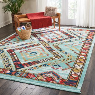 An Image of Navajo 2 Rug Blue/Red