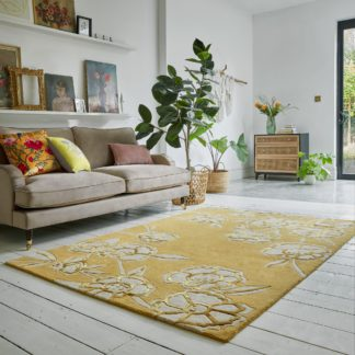 An Image of Fleur Floral Wool Mix Rug Yellow