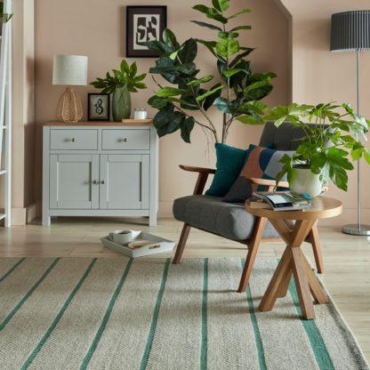 An Image of Terra Stripe Flatweave Rug Green
