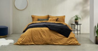 An Image of Hylia Washed Cotton Satin Duvet Cover + 2 Pillowcases, Double, Dark Ochre