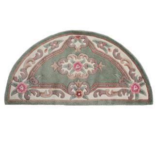 An Image of Lotus Premium Aubusson Half Circle Rug Green