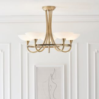 An Image of Endon Cagney 5 Light Semi Flush Ceiling Fitting Brass Brown