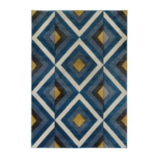 An Image of Paloma Geometric Rug Blue, Yellow and Black