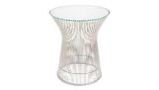An Image of Knoll Platner Side Table Polished Nickel Base Clear Glass Top
