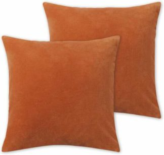 An Image of Lorna Set of 2 Velvet Cushions, 45 x 45cm, Papaya