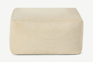 An Image of Loa Square Floor Pouffe, Natural Stone Cord Velvet
