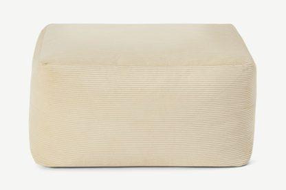 An Image of Loa Square Floor Pouffe, Natural Stone Cord Velvet