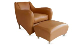 An Image of Scp Balzac Armchair & Footstool Utah Russet Leather