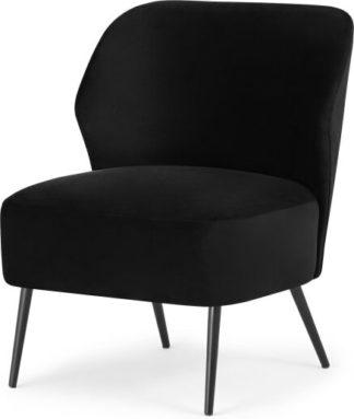 An Image of Topeka Accent Armchair, Deep Black Velvet
