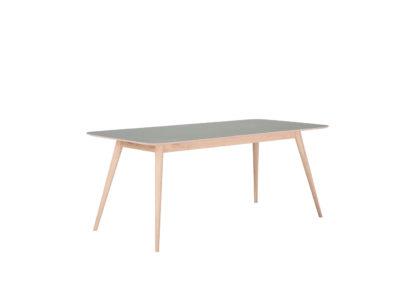 An Image of Gazzda Linn Dining Table Dark Olive Linoleum 160x90x75cm