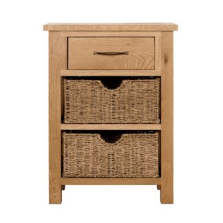 An Image of Sidmouth Oak Telephone Table with Baskets Light Brown / Natural