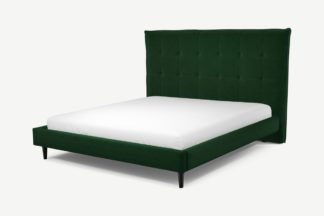 An Image of Custom MADE Lamas Super King Size Bed, Bottle Green Velvet with Black Stained Oak Legs