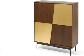An Image of Mischa Highboard, Acacia Wood & Brass