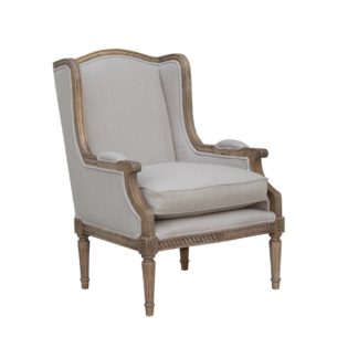 An Image of Celine Linen Wingback Chair - Natural Natural