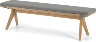 An Image of Wingrove Dining Bench, French Oak & Cool Grey