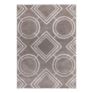 An Image of 5A Fifth Avenue Silver Geo Rug Silver