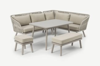 An Image of Alif Garden Corner Dining Set, Natural White & Eucalyptus