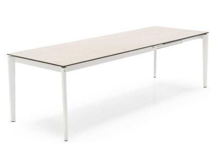 An Image of Heal's Rocca Ceramic Extending Dining Table Salt White Top Matt White Leg