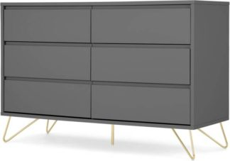 An Image of Elona Compact Wide Chest, 120cm, Charcoal & Brass