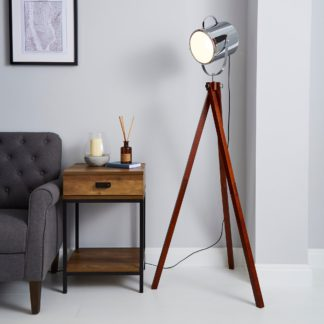 An Image of Carlton Camera Tripod Wood Floor Lamp Silver