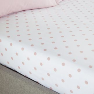 An Image of Catherine Lansfield Polka Dot Spot Fitted Sheet Silver