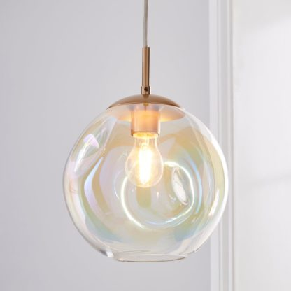 An Image of Alexis Glass 1 Light Pendant Ceiling Fitting 20cm Silver