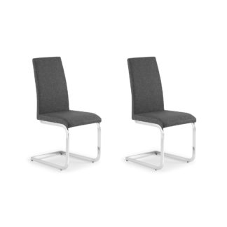 An Image of Roma Set of 2 Dining Chairs Grey PU Leather Grey