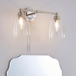 An Image of Dorma Uxbridge Bathroom 2 Light Wall Light Nickel Nickel