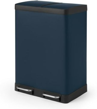 An Image of Colter Soft Close Double Recycling Pedal Bin, 2 x 30L, Midnight Navy
