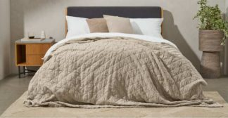 An Image of Boxton 100% Cotton Stonewashed Bedspread, 225 x 220cm, Natural